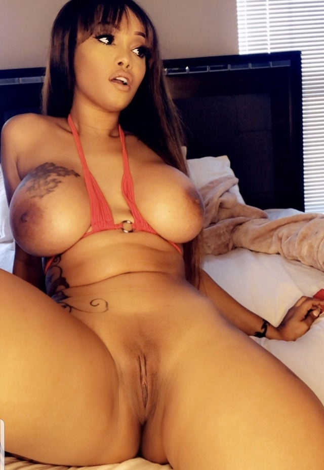 Sexy babe Shakka Fernandez OnlyFans ms_fernandes25 shows off her big tits and perfect pussy in red lingerie with legs and mouth spread open nude photo leaked